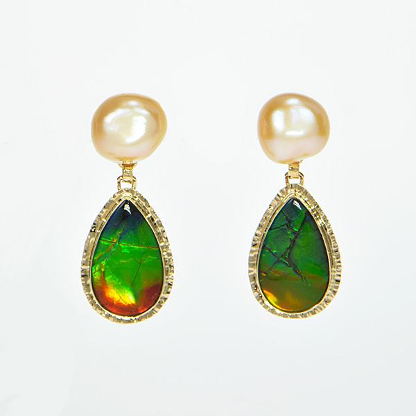 Baksa 14K Yellow Gold Freshwater Pearl & Ammolite Earrings