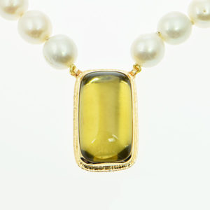 Baksa 14K Yellow Gold Citrine & Freshwater Pearl Necklace