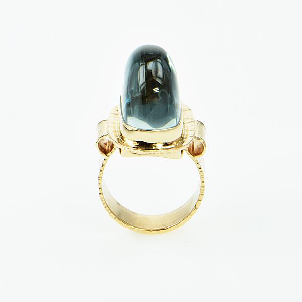 Baksa 14K Yellow Gold Blue Topaz Ring