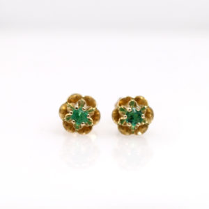 Arte*Vitta 14K Yellow Gold & Emerald Buttercup Studs