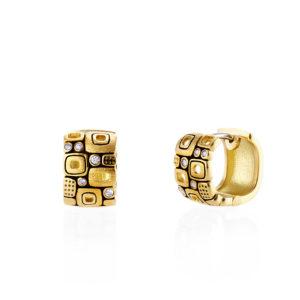 "Alex Sepkus 18K Yellow Gold Diamond ""Little Windows"" Huggies"