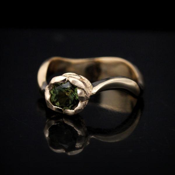 "14K Yellow Gold Green Sapphire ""Peony"" Ring"