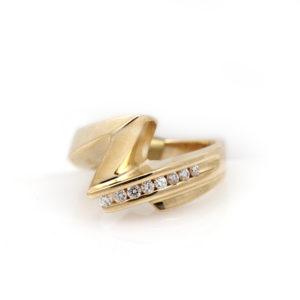 "Matthew Hoffman 14K Yellow Gold Diamond ""Lightning"" Ring"