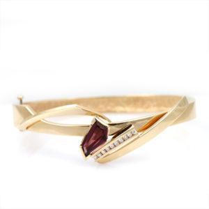 Mathew Hoffman 14K Yellow Gold Rubellite Tourmaline and Diamond Bracelet