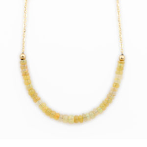 14K Yellow Gold Ethiopian Opal Beaded Necklace