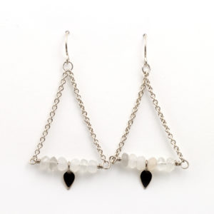 Sterling Silver Moonstone Charm Earrings