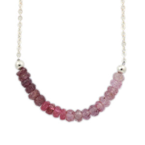 Sterling Silver Pink Spinel Gradient Necklace