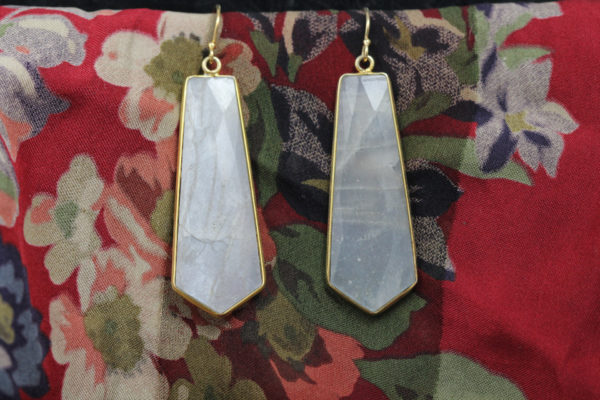 Barton Designs Yellow Gold Fill Faceted Moonstone Earrings
