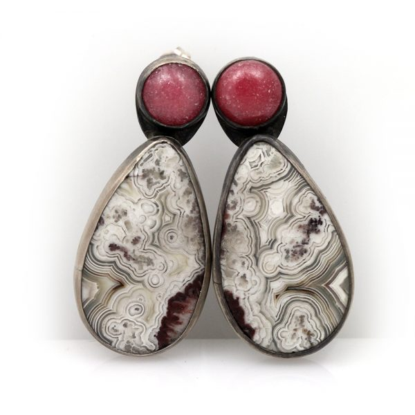 Natalie La Bruzzy Sterling Silver Rose Quartz and Lace Agate Earrings