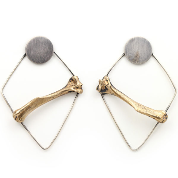 Natalie La Bruzzy Sterling Silver and Bronze Bone Statement Earrings