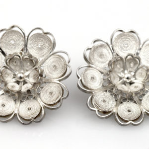 Muxi Sterling Silver Filigree Blossom Earrings