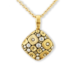"Alex Sepkus 18K Yellow Gold + Diamond ""Soft Mosaic"" Pendant"