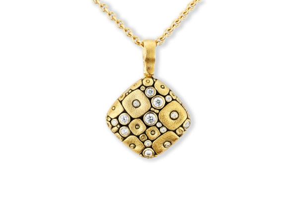 "Alex Sepkus 18K Yellow Gold + Diamond ""Soft Mosaic"" Pendant"