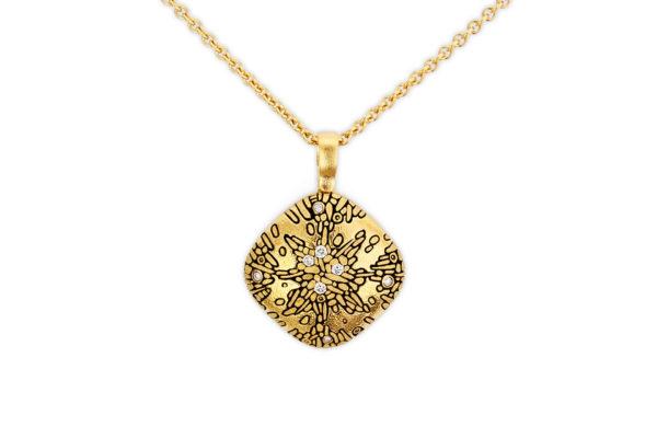 Alex Sepkus 18K Yellow Gold & Diamond Cushion Pendant
