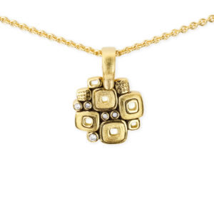 "Alex Sepkus 18K Yellow Gold + Diamond ""Little Windows"" Pendant"