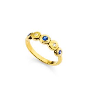 "Alex Sepkus 18K Yellow Gold Sapphire and Diamond ""Lilly Pad"" Ring"