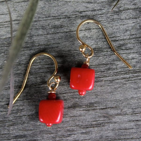 Natalie E.L. Zolg Yellow Gold Filled Coral Cube Earrings