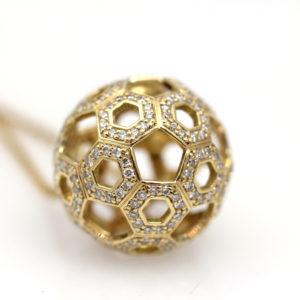 "Arte*Vitta 18K Yellow Gold Diamond ""Honeycomb"" Pendant"