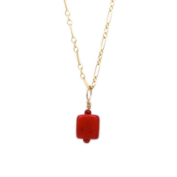 "Natalie E.L. Zolg Gold Fill Coral ""Cube"" Necklace"