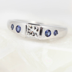Low Profile Platinum, Diamond & Sapphire Ring