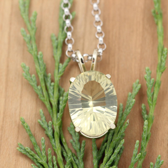 14K White Gold Lime Quartz Pendant
