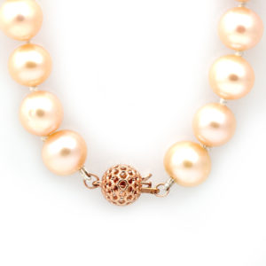 Barton Designs Cultured Pearl Necklace with 14K Rose Gold Clasp