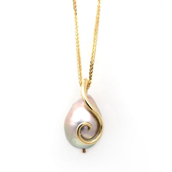 Barton Designs 14K Gold Grey Pearl Pendant