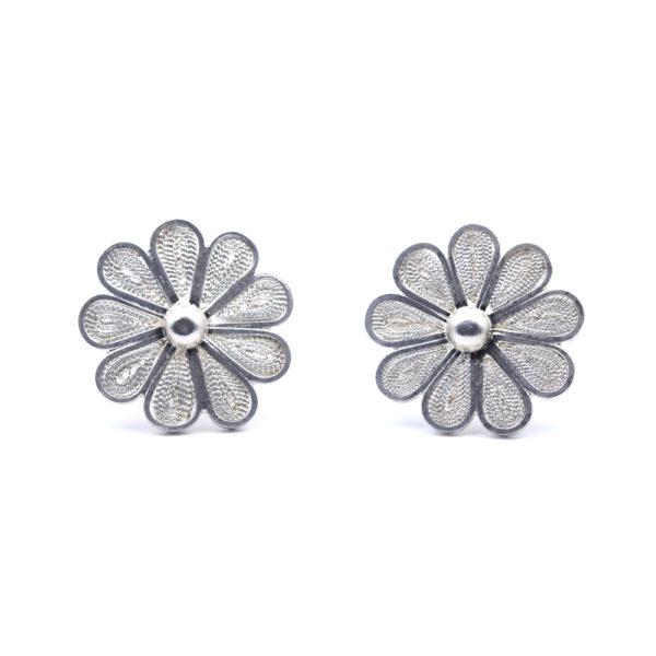 "Muxi Silver Filigree ""Flower Blossom"" Studs"