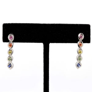 "Sterling Silver ""Rainbow Sapphires"" Earrings"