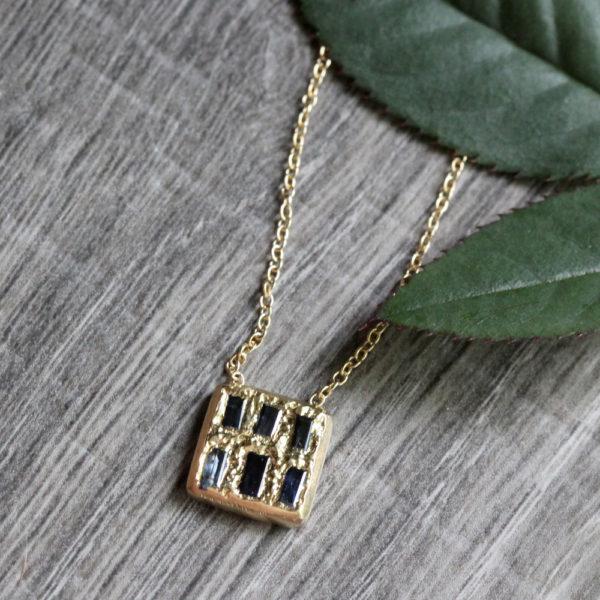 "Rebecka Fröberg 18K Gold & Sapphire ""Rectangle"" Necklace"