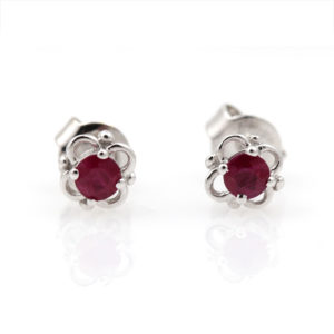 14K White Gold Floral Ruby Studs