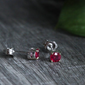 14K Gold 4mm Ruby Studs