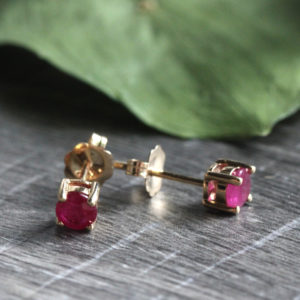 14K Yellow Gold 3.5mm Ruby Studs