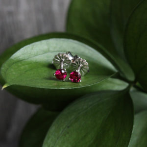 14K White Gold 3.25mm Ruby Cocktail Studs