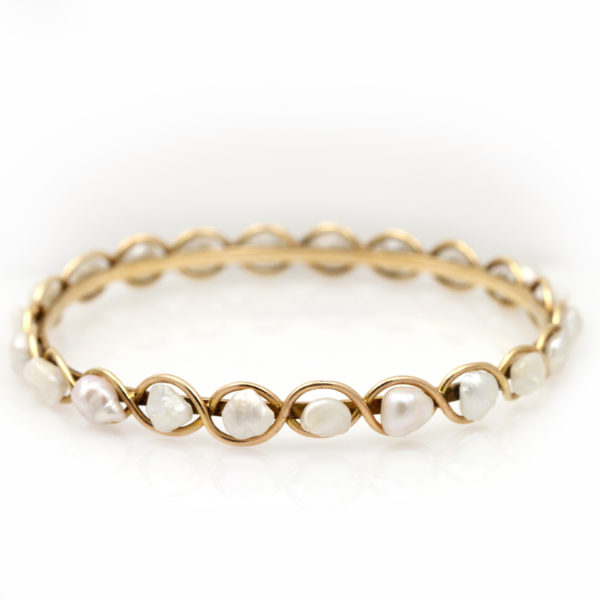 Vintage 14K Yellow Gold and Baroque Pearl Bangle