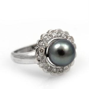 Retro 14K White Gold Tahitian Pearl and Diamond Halo Ring