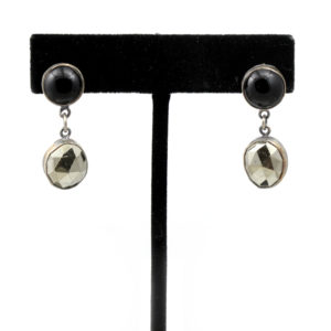 Natalie La Bruzzy Sterling Silver Onyx & Pyrite Earrings