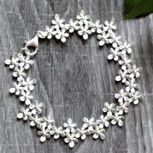 "Kelim Sterling Silver Triple ""Forget Me Not"" Floral Bracelet"