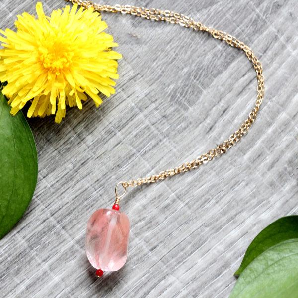 Natalie E.L. Zolg Yellow Gold Fill Rose Quartz & Coral Necklace