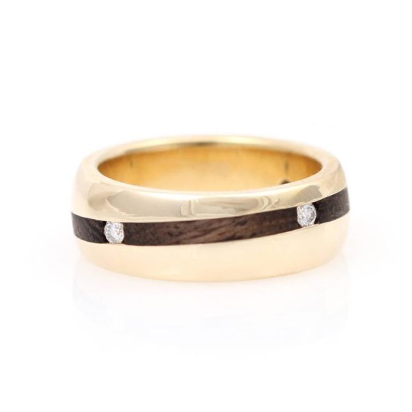 14K Yellow Gold Ironwood & Diamond Band