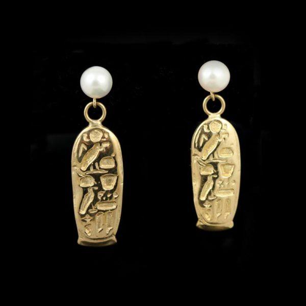 """14K Gold & Pearl """"Egyptian Goddess"""" Earrings"""