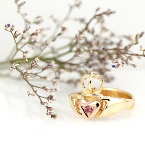 Two Tone Gold & Pink Diamond Claddagh Ring