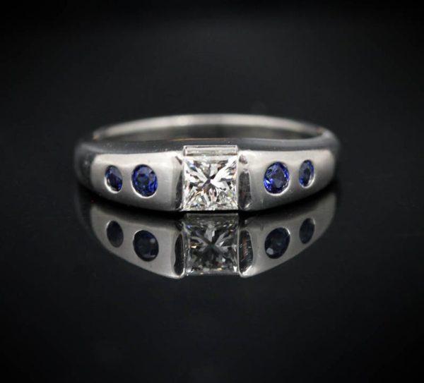 Low Profile Platinum, Diamond & Sapphire Ring