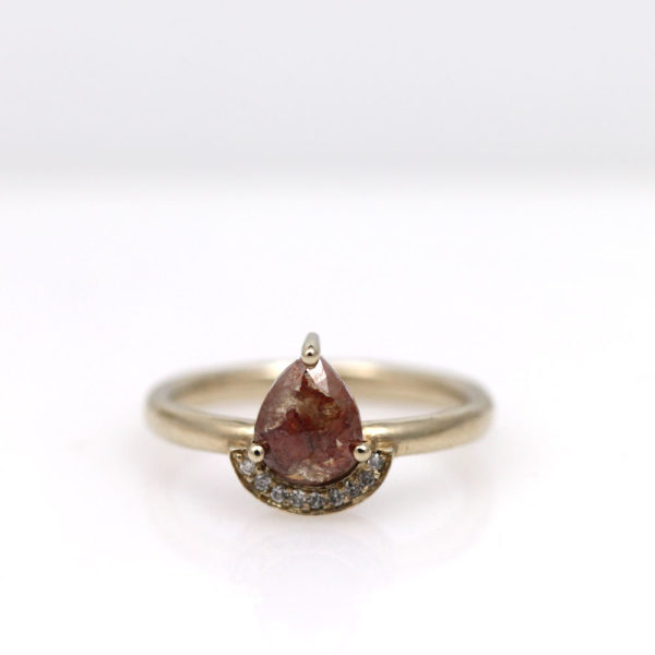 "Arte*Vitta 18K White Gold Rustic Pear Diamond ""Natural Wonder"" Ring"