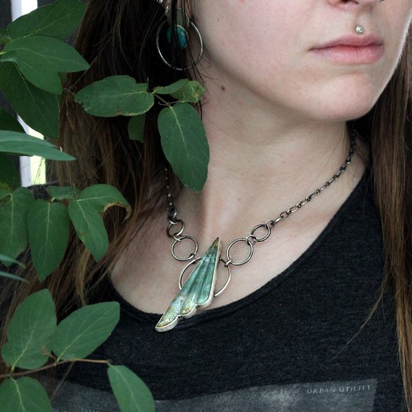 Natalie La Bruzzy Sterling Silver & Moss Agate Necklace