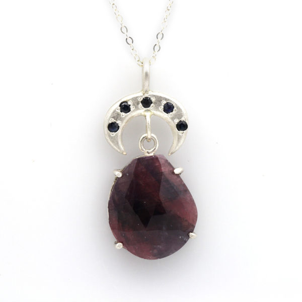 """Sterling Silver Sapphire & Ruby """"Crescent Moon"""" Pendant"""