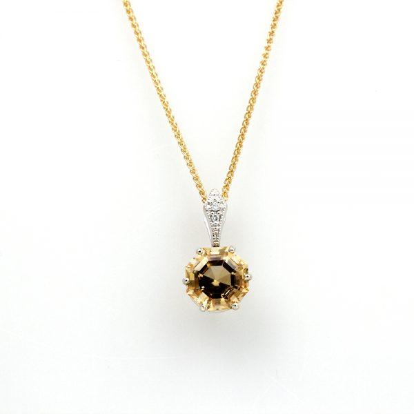 14K White Gold Diamond & Citrine Pendant