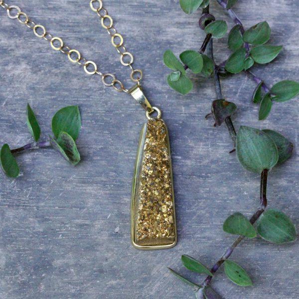 Barton Designs Gold Druzy Statement Necklace