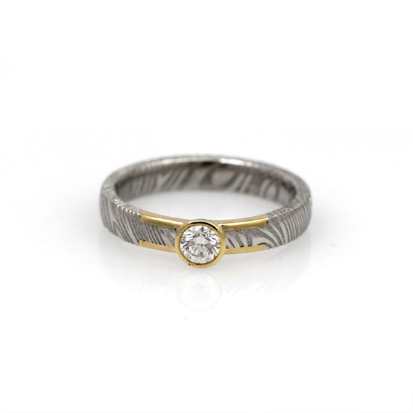 Chris Ploof 18K Yellow Gold & Damascus Diamond Solitaire