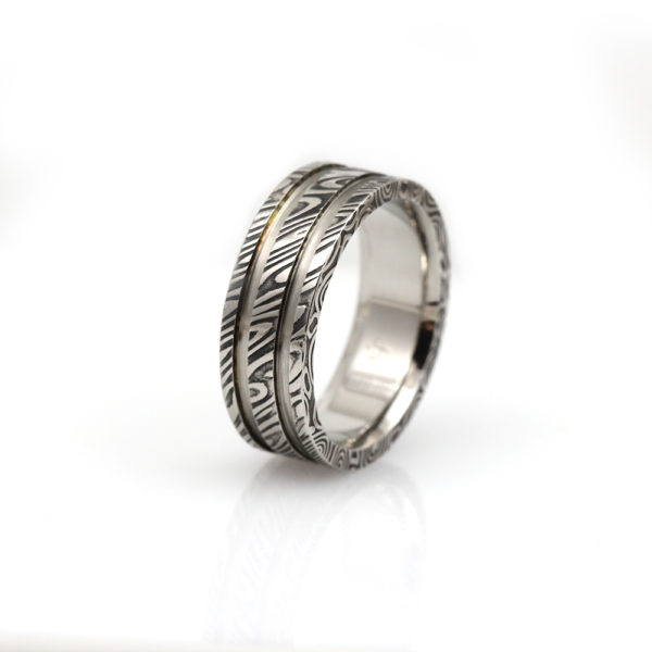 "Chris Ploof Damascus Steel ""Wood Grain"" Wedding Band"